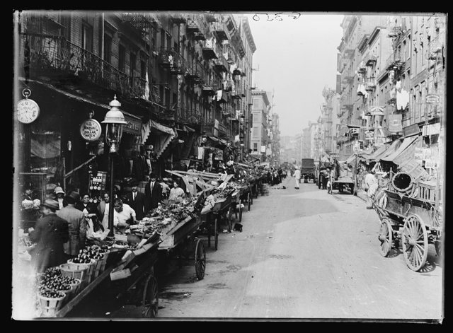 [Italian neighborhood with street market, Mulberry Street, New York]