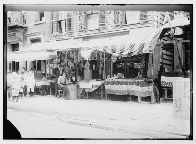 Italian wares on display in front of shops, Little Italy, New York