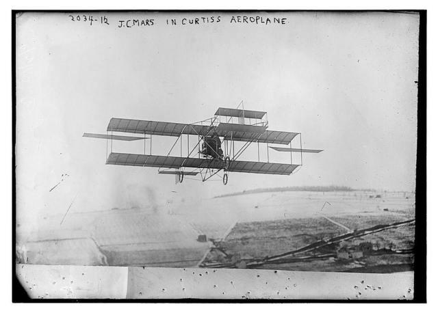 J.C. Mars in Curtiss Aeroplane