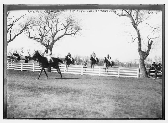 """Jumpers racing for Cedarhurst Cup, won by """"Ringlets"""""""