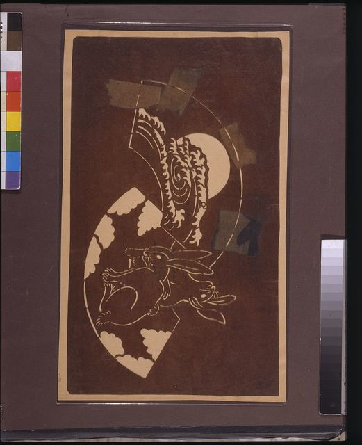 [Katagami stencil with rabbits and a moon]