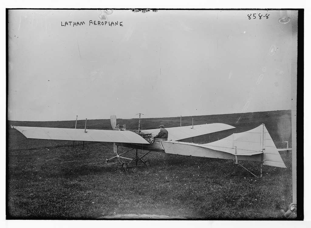 Latham aeroplane, on flying field