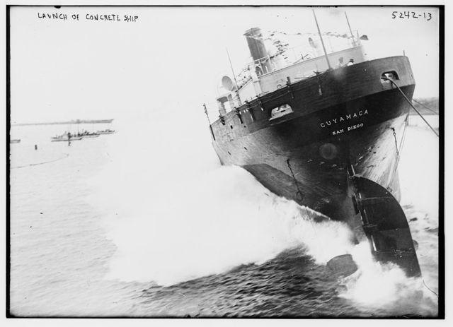 Launch of concrete ship CUYAMACA (San Diego)