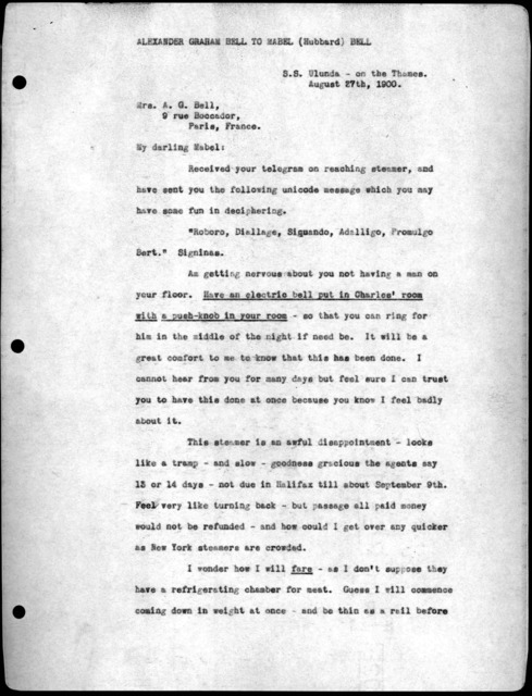 Letter from Alexander Graham Bell to Mabel Hubbard Bell, August 27, 1900