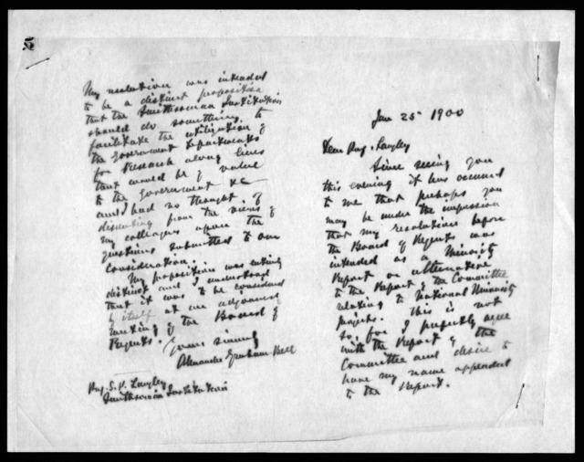 Letter from Alexander Graham Bell to Samuel P. Langley, January 25, 1900