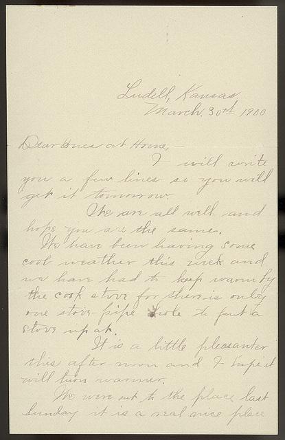 Letter from Estella Stilgebouer to Uriah W. Oblinger, Sadie Oblinger, and Lillie Oblinger, March 30, 1900