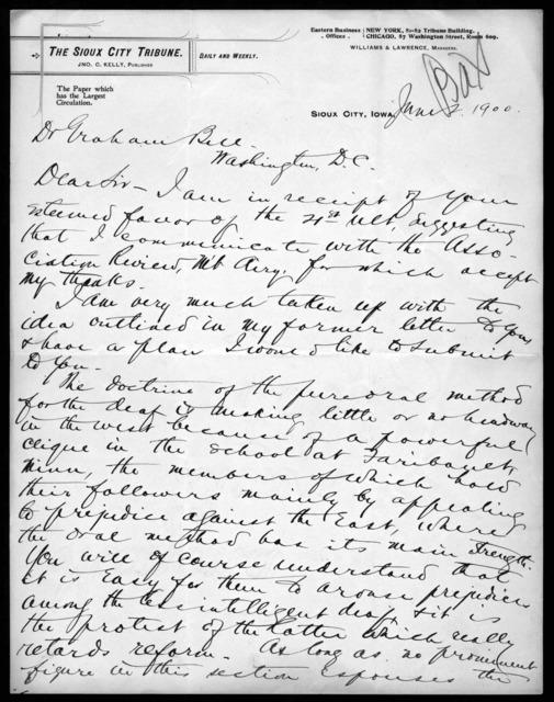 Letter from George H. Allen to Alexander Graham Bell, June 2, 1900