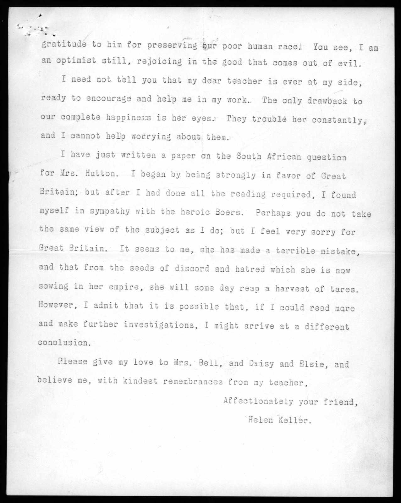 Letter from Helen Keller to Alexander Graham Bell, March 9, 1900