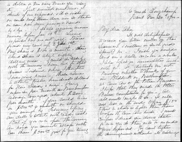 Letter from Mabel Hubbard Bell to Alexander Graham Bell, November 20, 1900