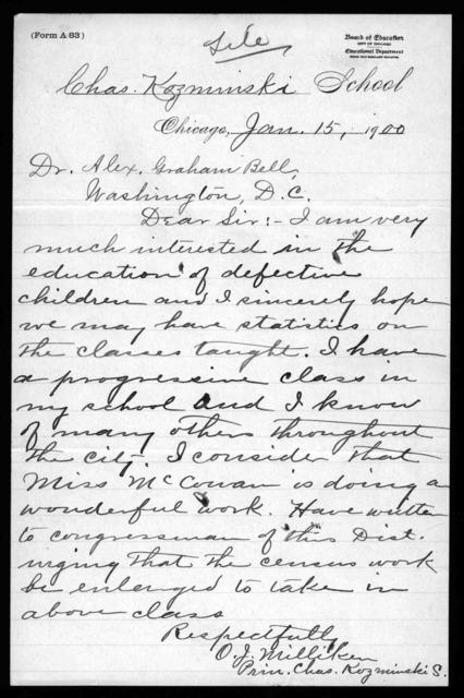 Letter from O.J. Milliken to Alexander Graham Bell, January 15, 1900