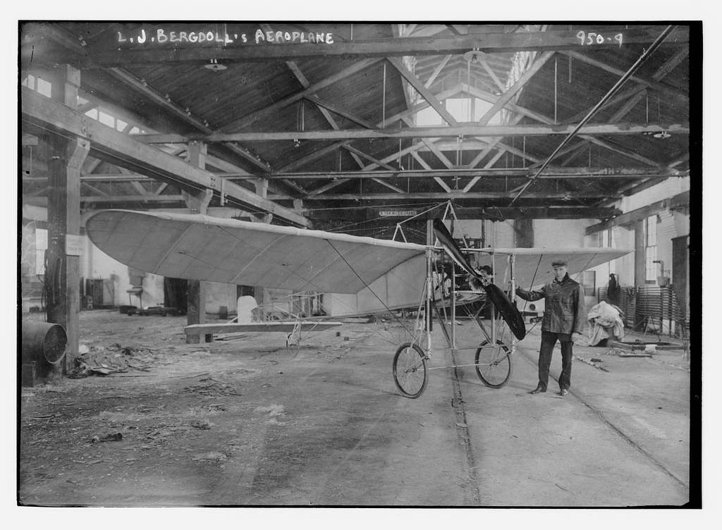 L.G. Bergdoll's aeroplane in hangar