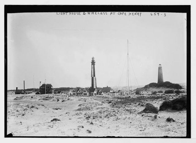 Lighthouse, wireless, moors at Cape Henry