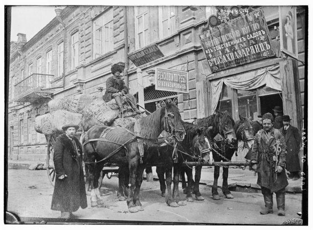 Load of wood [wool?], Armenian relief