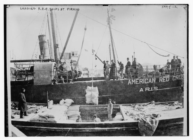 Loading A.R.C. ships at Piraeus [American Red Cross]