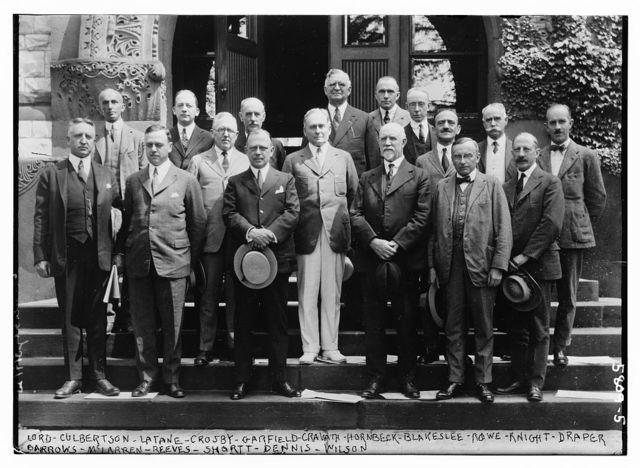 Lord Culbertson, Latane, Crosby, Garfield, Cravath, Hornbeck, Blakeslee, Rowe, Knight, Draper, Barrows, McLarren, Reeves, Shortt, Dennis, and Wilson