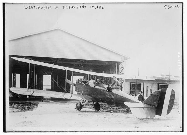 Lt. Austin in De Havilland plane