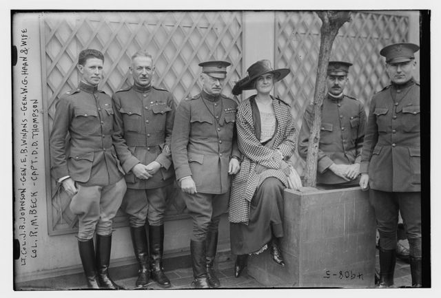 Lt. Col. J.B. Johnson, Gen. E.B. Winans, Gen. W.G. Haan and wife, Col. R.M. Beck, Capt. D.D. Thompson
