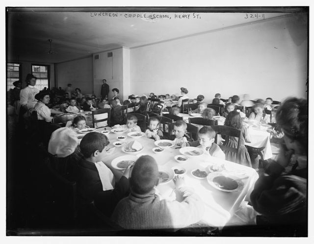 Lunch Time at the Crippled Children's School, Henry St.