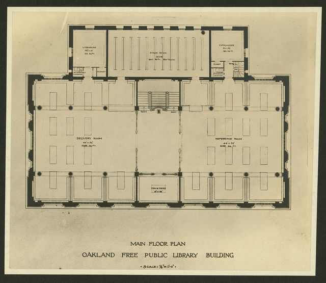 Main floor plan , Oakland Free Public Library building