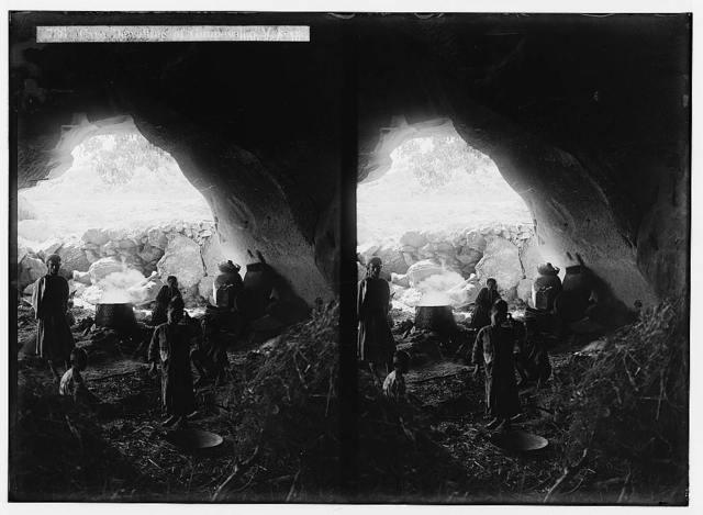Making gunpowder at Beit Jibrin. Cave dwelling of gunpowder makers