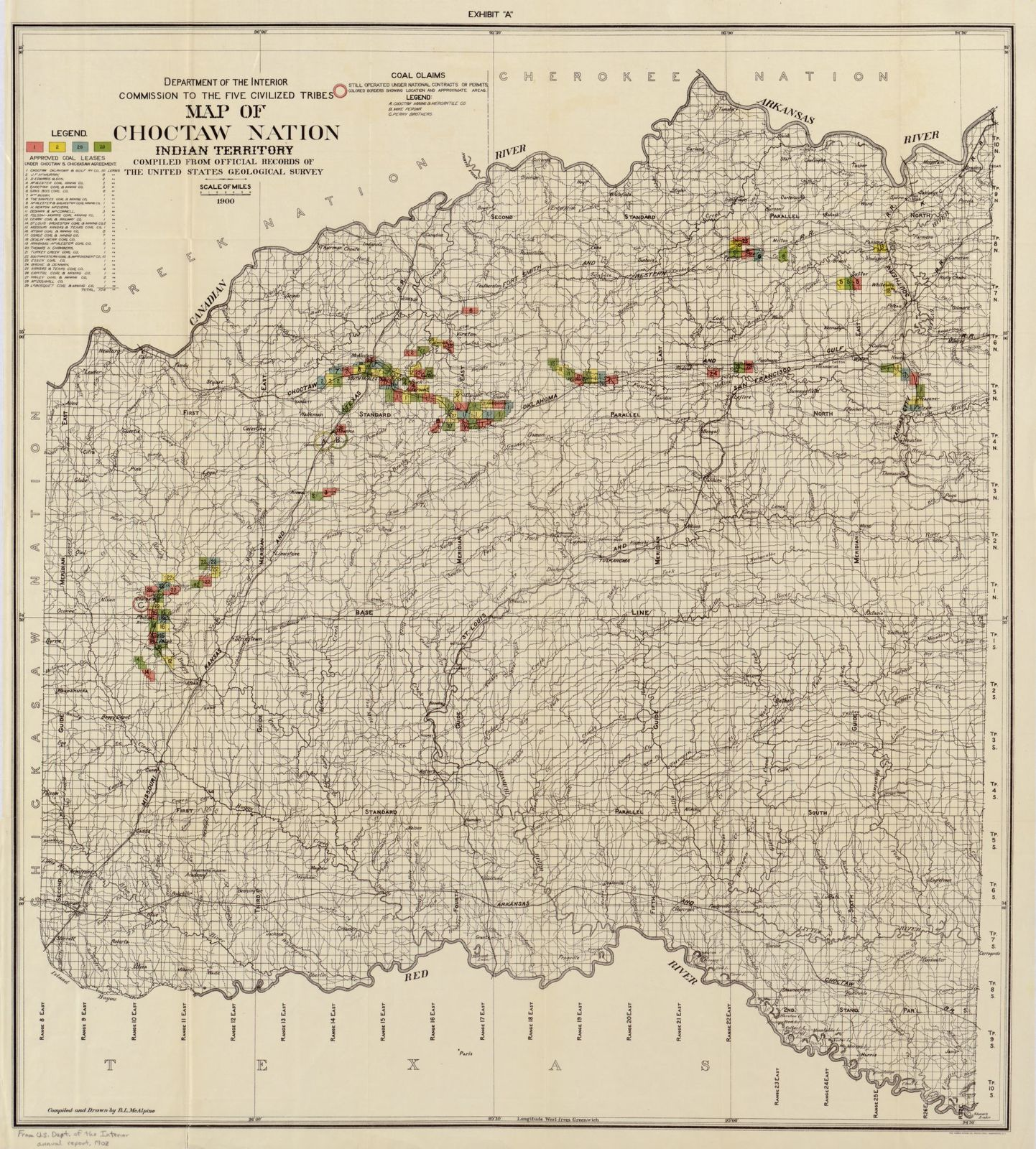 Map of Choctaw Nation, Indian territory : compiled from official ...