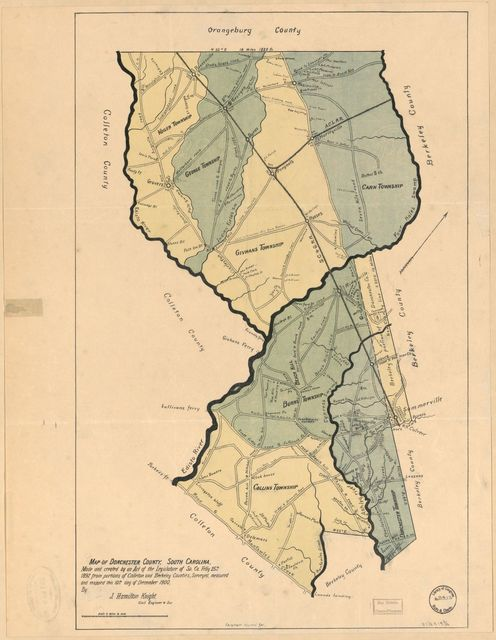 Map of Dorchester County, South Carolina : made and created by an Act of the Legislature of So. Ca. Feb'y 25th 1897, from portions of Colleton and Berkeley counties /