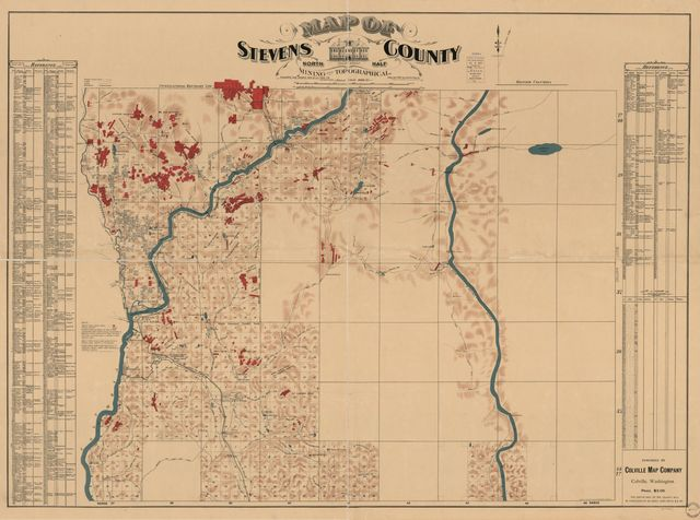 Map of Stevens County : north half : mining and topographical /