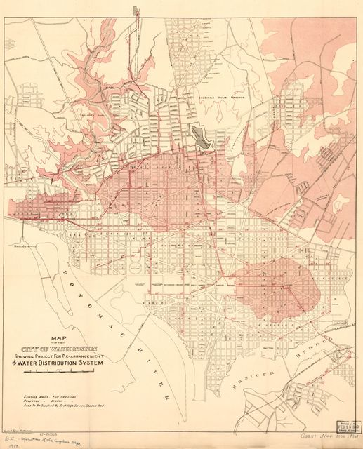 Map of the city of Washington showing project for re-arrangement of water distribution system /