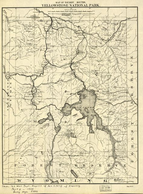 Map of the tourist routes, Yellowstone National Park.