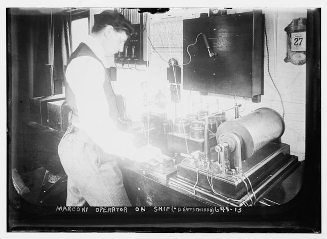 "Marconi operator aboard ship ""Deutschland"", at his instruments"