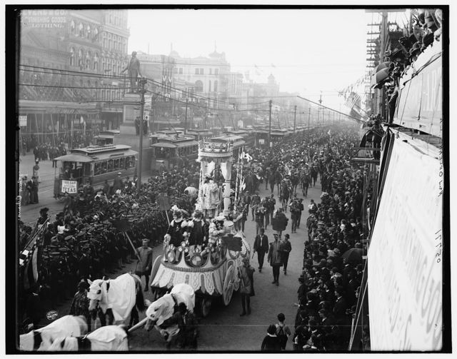 Mardi Gras procession on Canal St., New Orleans