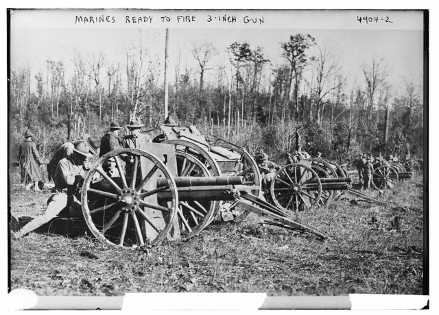 Marines ready to fire 3-inch gun