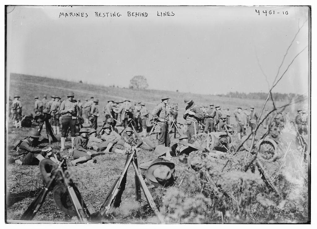 Marines resting behind lines