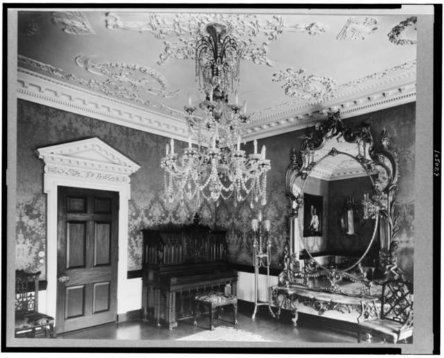 [Marsden J. Perry home, Providence, Rhode Island. Interior scene, detail of piano, crystal chandelier, mirror, and door]