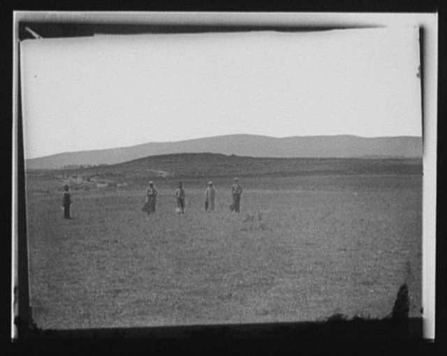 [Men, possibly Persians, in field with estate at left]