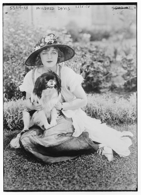 Mildred Davis and pet dog