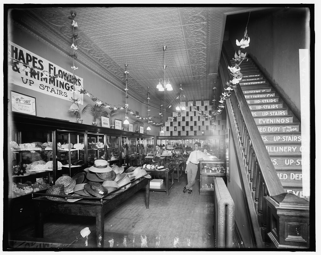 [Millinery store interior, possibly Detroit, Michigan]