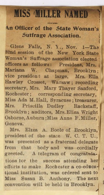 Miss Miller Named an Officer at the State Women's Suffrage Association