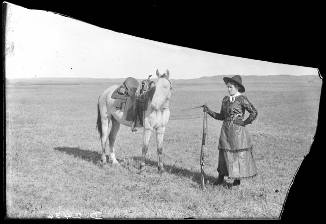Miss Sadie Austin, a typical Nebraska cowgirl, Simeon, Cherry County, Nebraska.