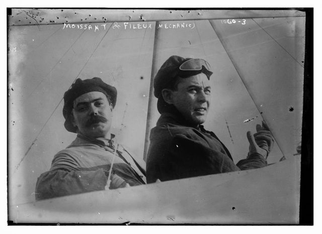Moissant and Fileux, his mechanic, in aeroplane