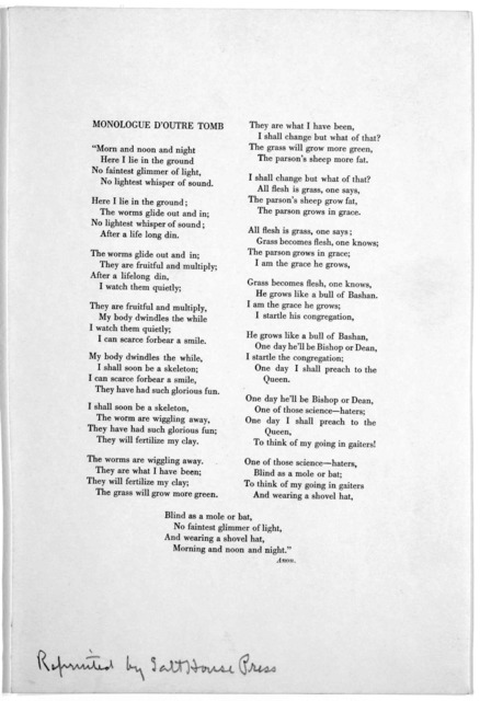 Monologue d'outre tomb. ... [Baltimore Reprinted by Salt House Press n. d.].