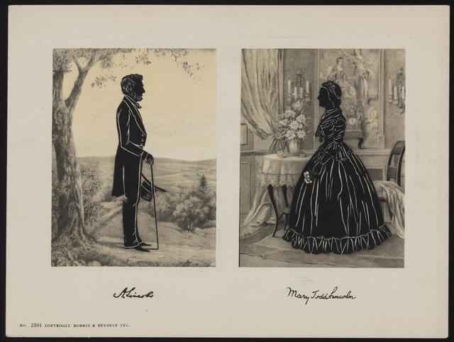 [Morris & Bendein, Inc. silhouette portrait of Abraham and Mary Todd Lincoln.]
