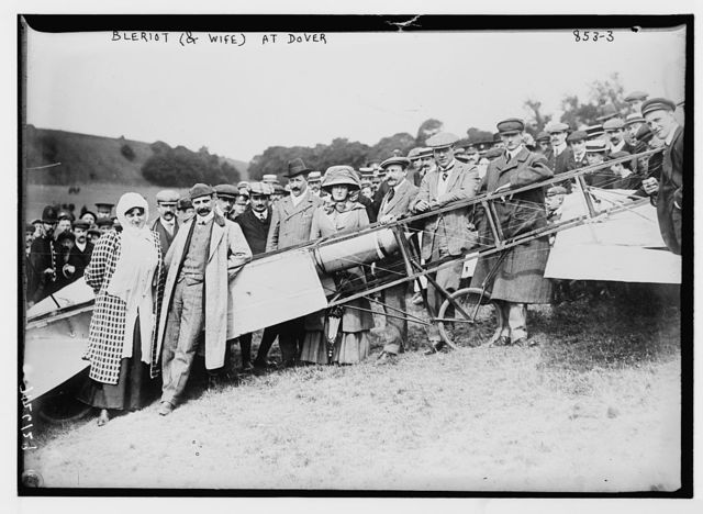 Mr. and Mrs. Bleriot, aeroplane, crowd, on field, Dover