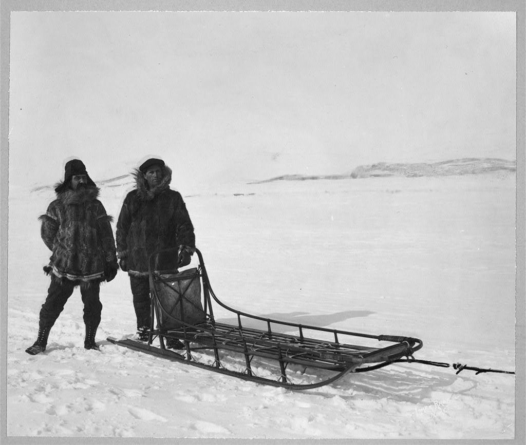 Mr. Bowen and Mr. Delezene with racing sled in an All Alaska Sweepstakes