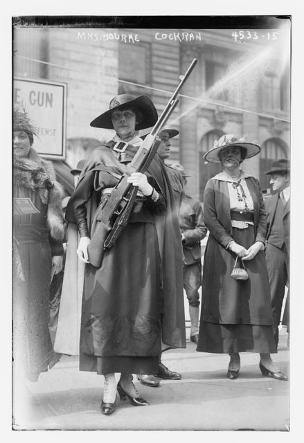 Mrs. Bourke Cockran [with gun]