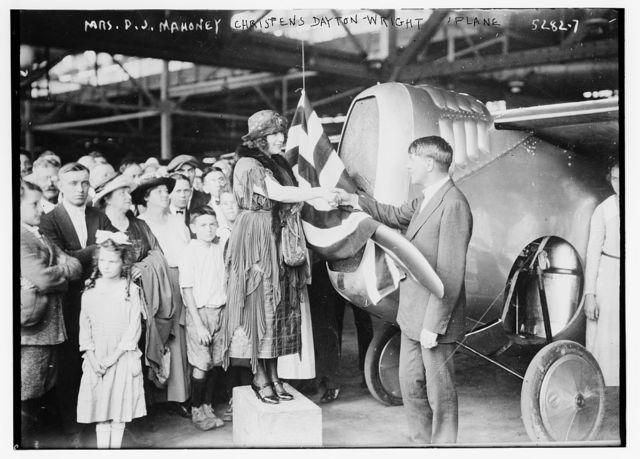 Mrs. D.J. Mahoney, Christens Dayton - Wright plane