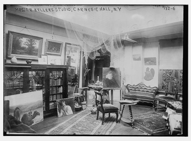 Mrs. I.R. Keller's painting studio, Carnegie Hall, New York