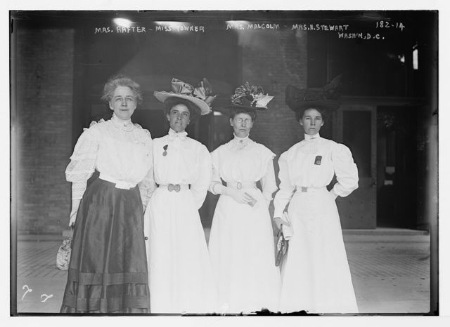 Mrs. Rafter, Miss Towner, Mrs. Malcolm, Mrs. N. Stewart, standing together, Washington, D.C.