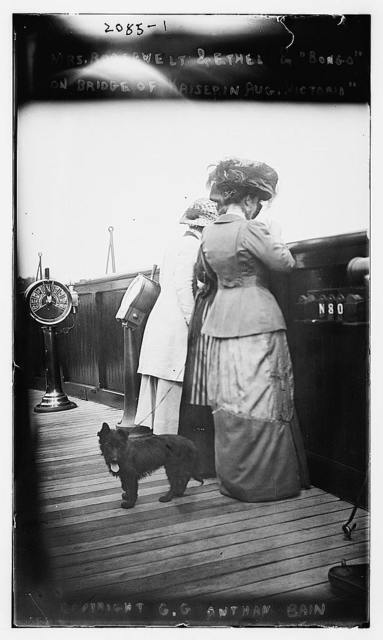 "Mrs. Roosevelt and Ethel and ""Bongo"" on bridge of Kaiserine Aug. Victoria"