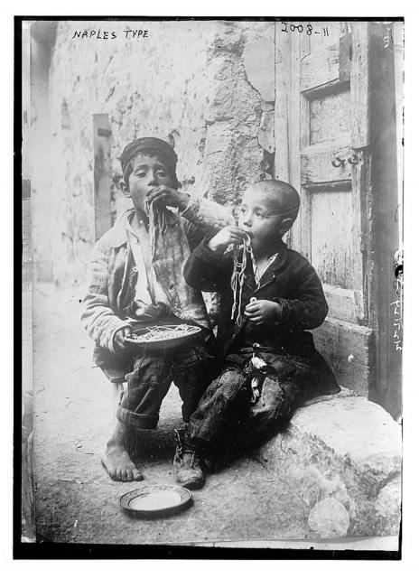 """""""Naples type"""" (two boys eating pasta)"""